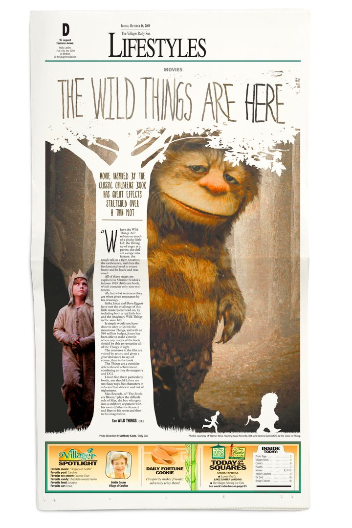 •Newspaper design• Where the Wild Things Are #GraphicDesign #Art #Layout #Newspaper