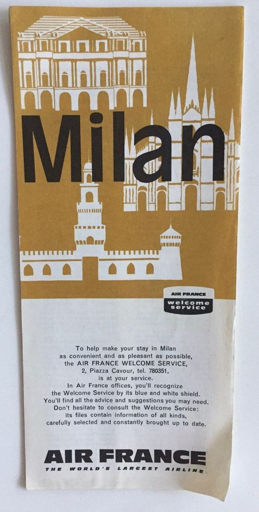 VTG~1964 AIR FRANCE MILAN WELCOME SERVICE TRAVEL BROCHURE-MAP TOURIST GUIDE