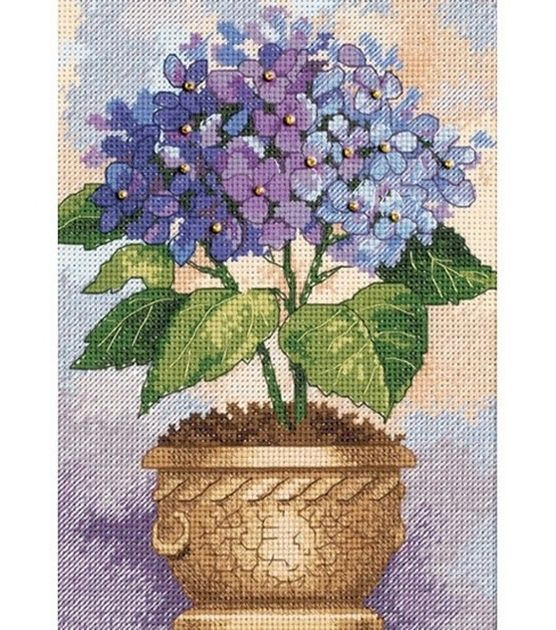 Add a burst of color to your home decor when you display needlework created with the Dimensions Gold Collection Petite Hydrangea In Bloom Counted Cross Stitch Kit 5 x 7. The vibrant design of blooming