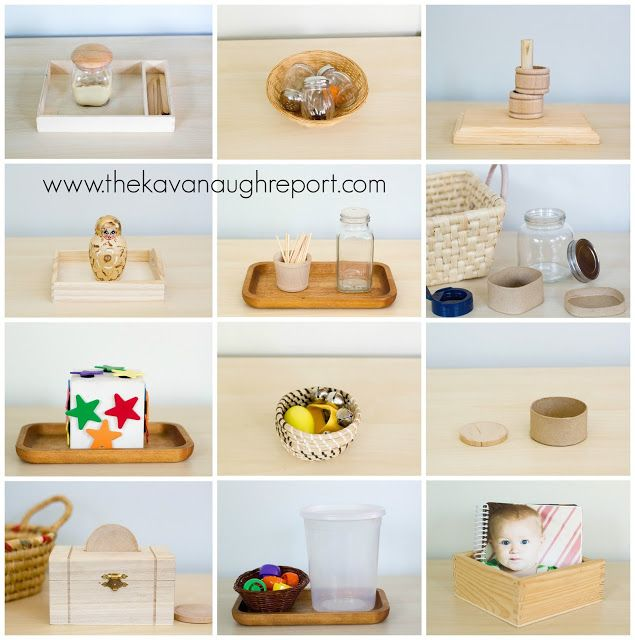 Montessori Work from 12 to 14 Months, easy ideas for young toddler work shelves.