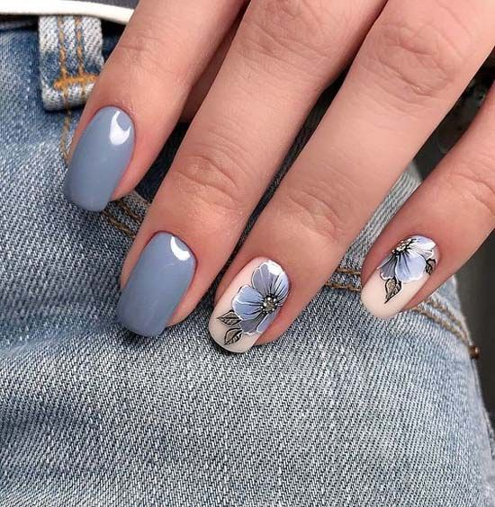 Cool Grey Nail Design For Summer 2018