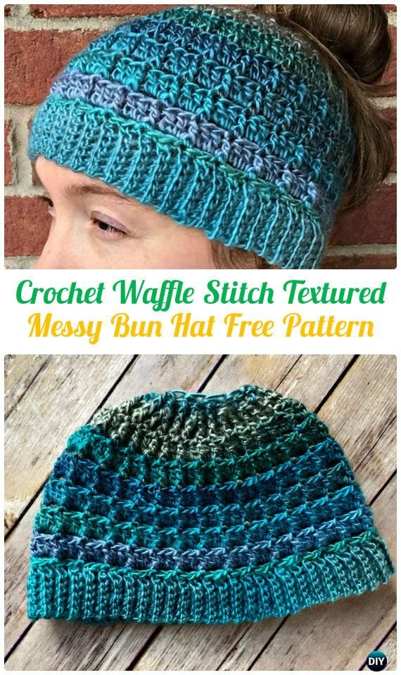 Crochet WaffleStitchTexturedMessyBunHatFreePattern - Crochet Ponytail Messy Bun Hat Free Patterns & Instructions