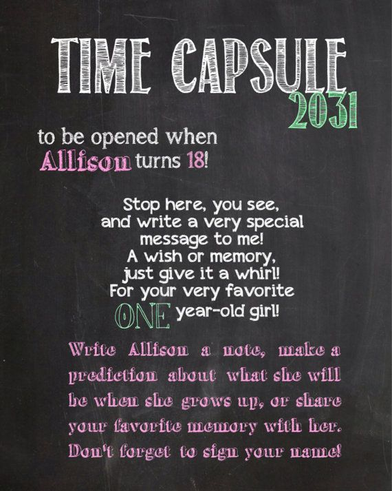 First Birthday Time Capsule Sign Birthday by BusyBeeCrafts09