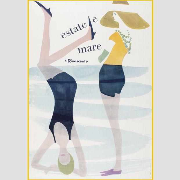 Manifesto di Lora Lamm, Estate e mare, La Rinascente Milano, 1958. Collezione: Museum für Gestaltung Zurigo, MfGZ. L'idea della donna capovolta è nata casualmente, osservando il primo bozzetto accarto
