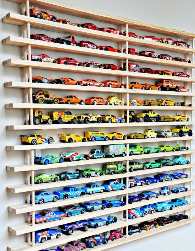 Seriously considering making this for my son. Matchbox Car Shelf System - DIY Toy Organizing Ideas - Country Living