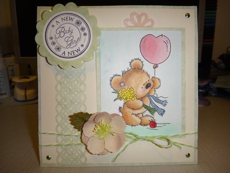 [Lili of the Valley - Teddy with balloon] Baby card.