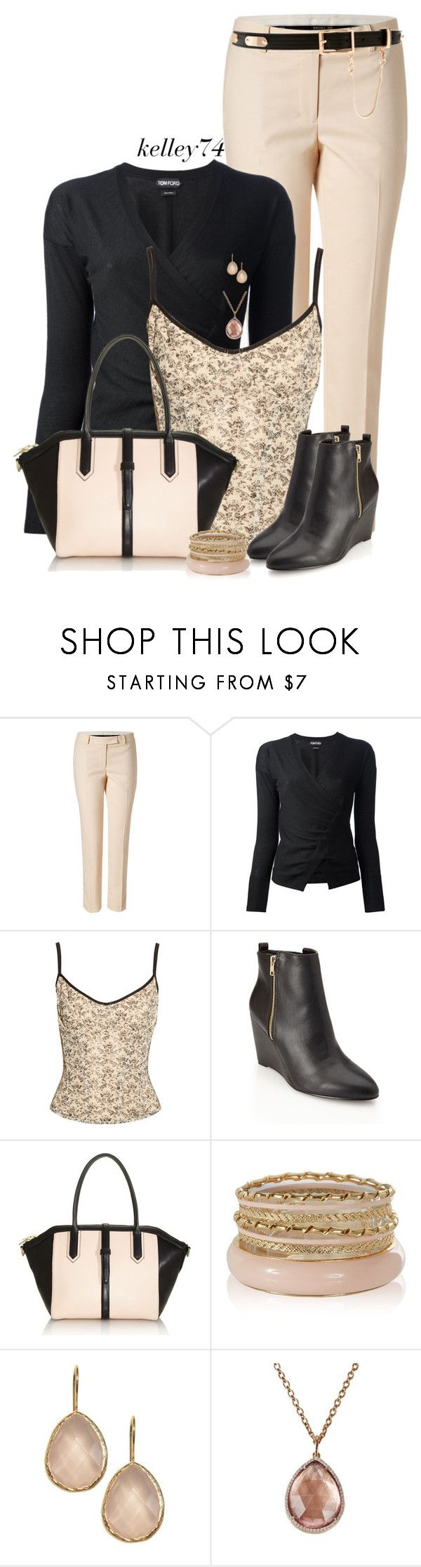 """""""Black Wedge Booties"""" by kelley74 ❤ liked on Polyvore featuring Rachel Zoe, Tom Ford, Yummie by Heather Thomson, Forever 21, J.Crew, Irene Neuwirth and ASOS"""