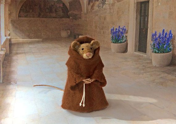 Felted Mouse Franciscan Friar with Brown by GentlySpokenFriend