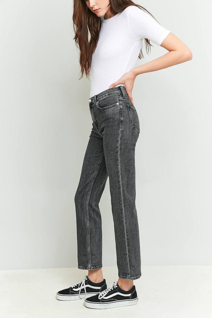 Slide View: 5: Calvin Klein - Jean court coupe droite à taille haute noir