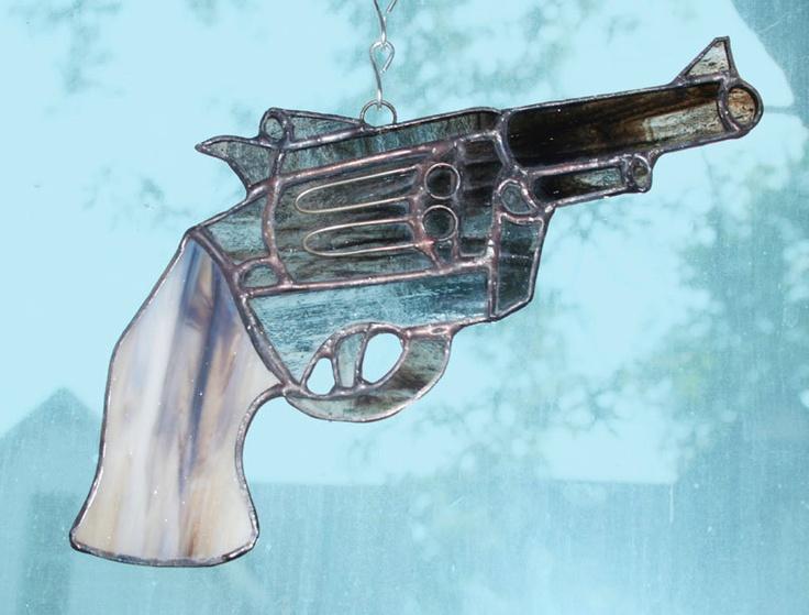 Stained Glass .357 Magnum Revolver Suncatcher, Gun ...