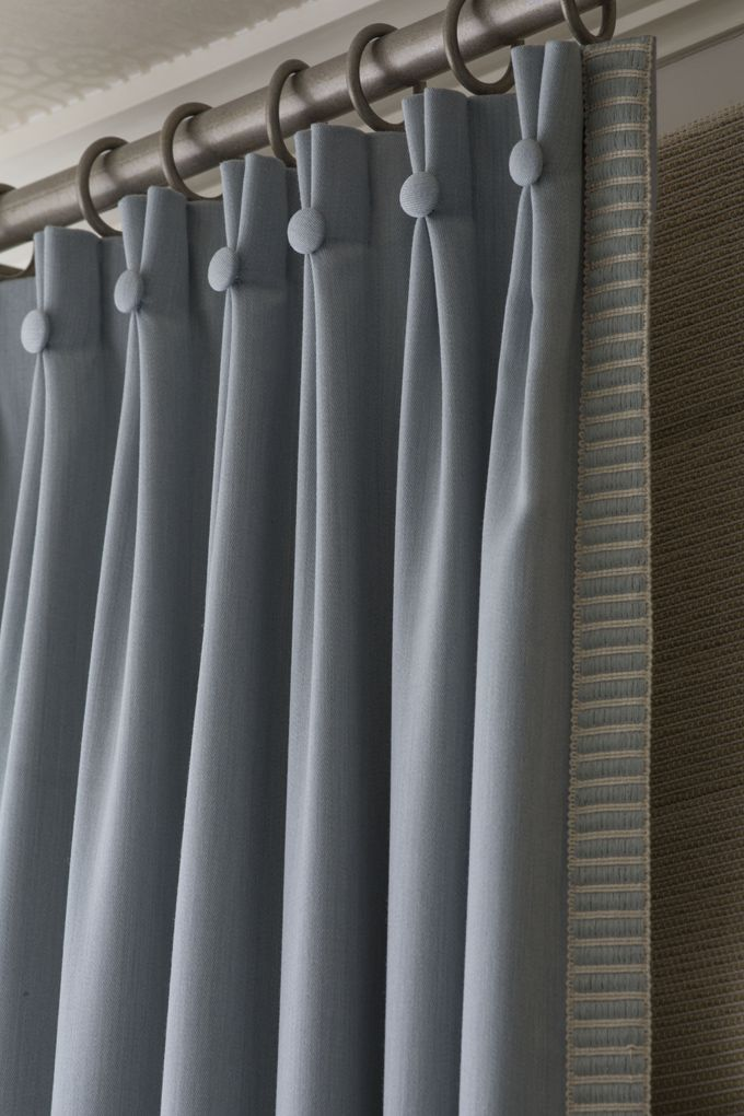 Wow! What a stunning drapery detail. We do custom work at Hirshfield's Shop at Home! From House of Turquoise: Designer Katie DeStefano Design