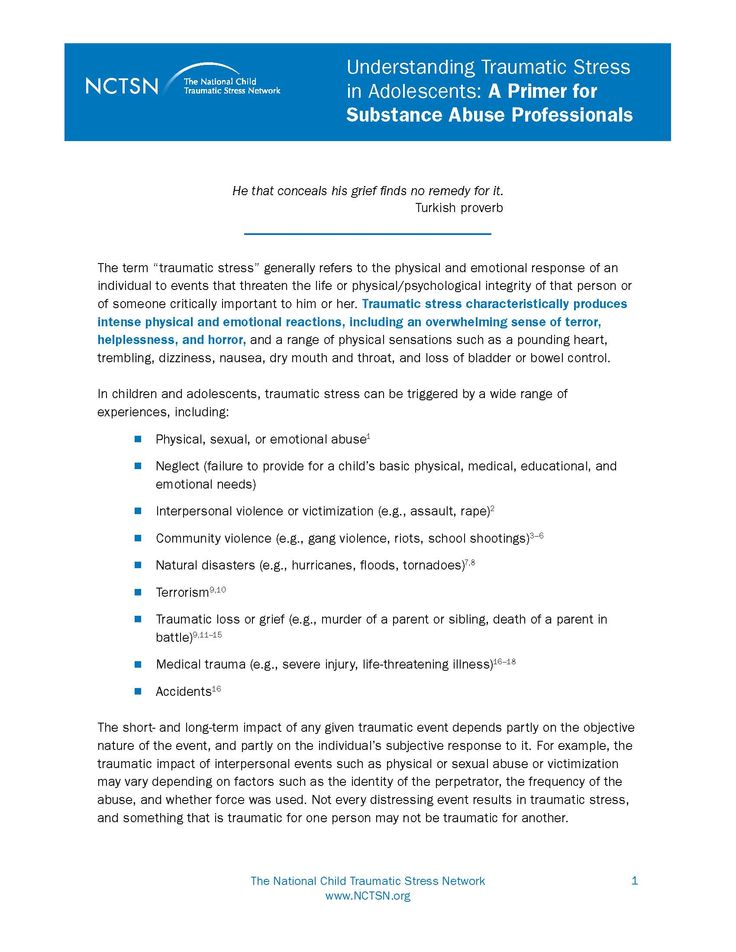 Understanding Traumatic Stress in Adolescents: A Primer for Substance Abuse  Professionals