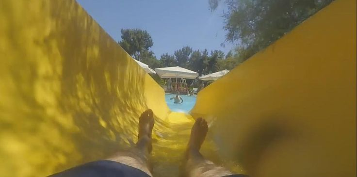 Lykia World Water Park Yellow slide Ride with my Xiaomi Yi Camera in Hand