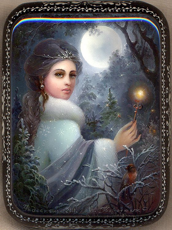 Russian lacquer miniature from the village of Fedoskino. Night fairy