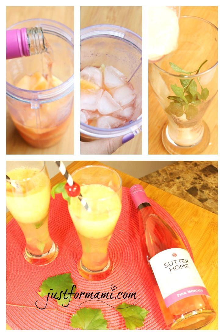 Msg 4 21+ Esta Bebida Tropical con Vino y Melón es muy sencilla de preparar, coloca 1 onza de vino @sutterhome con trozos de melón y un pedacito de jengibre, licúa y agrega hielo, vuelve a licuar y sirve con hojitas de menta y guinda. Esta bebida es apta para fiestas y reuniones.  #SummerVino #VeranoSutter #ad