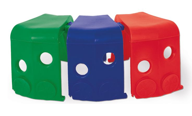 0964.3 - Vagão para Trenzinho | O túnel em formato de trem pode ficar do tamanho e formato que você quiser com a aquisição dos vagões avulsos. Caixa com 3 unidades, uma verde, uma vermelha e uma azul. | Faixa etária: + 3 anos | Dimensões: 93 x 56 x 66,5 cm | Playground | Xalingo Brinquedos | Crianças | www.xalingo.com.br