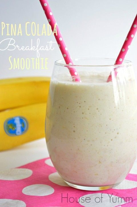 This healthy breakfast smoothie tastes like a tropical pina colada and is loaded with oatmeal to make sure you're nice and full!