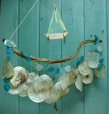 Sailboat Driftwood Mobile Windchime Boat Saddle Capiz Seashell Beach House Decor