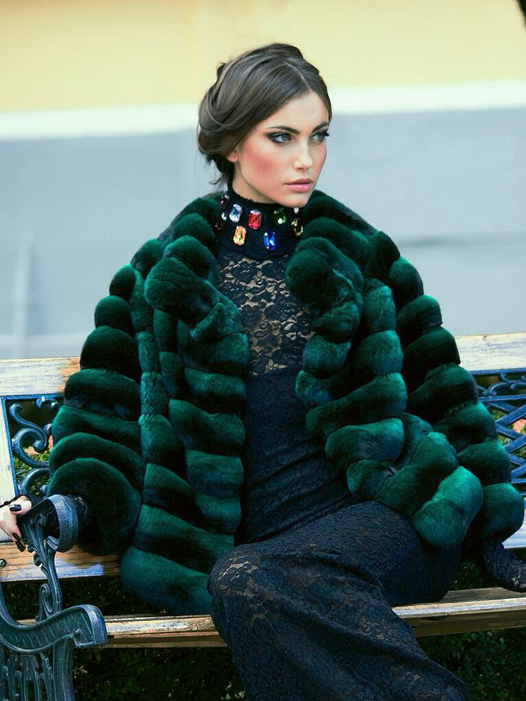 Green Dyed Chinchilla Fur Jacket                                                                                                                                                                                 More