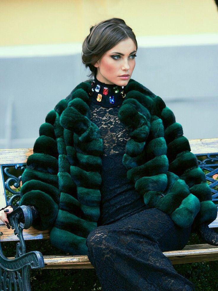 Green Dyed Chinchilla Fur Jacket