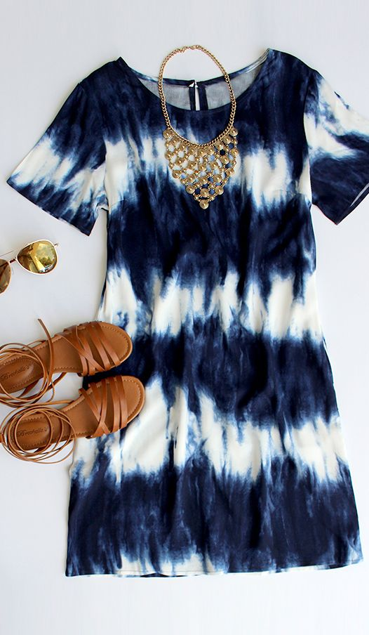 Seawall Ivory and Navy Shift Dress-- love the brown strappy sandals
