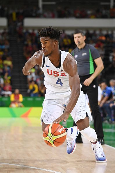 Jimmy Butler of the USA Basketball Men's National Team handles the ball against Venezuela on Day 3 of the Rio 2016 Olympic Games at…
