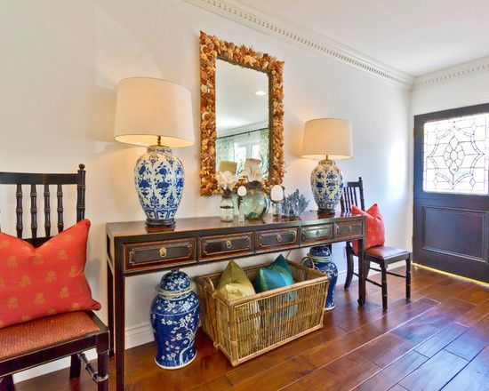 Furnitures, Eclectic Entry With Brown Comely Extra Long Console Table With Unique Mirror Design With Clam Shells Frame Decoration Also Antique Table Lights And Jar Also Rattan Basket For Cushions Also Brown Floorboards: Extra Long Console Table for Your Rooms