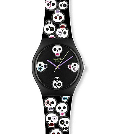 A skull watch from Swatch inspired by Day of the Dead