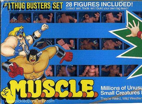 M.U.S.C.L.E. monster men set of 28, vintage 80s toy by Mattel and Bandai, weird pink wrestlers