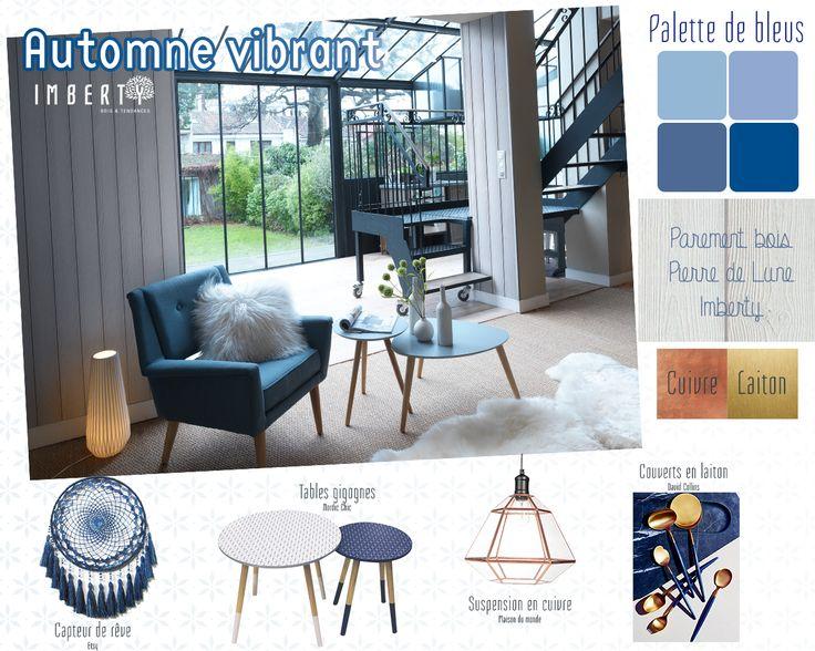 Inspiration Automne ... Pour un automne vibrant : faites appel aux nuances de bleu : un bleu klein pour du dynamisme ou un bleu serenity pour de l'apaisement. Choisissez le bleu qui vous convient! Imberty vous conseille de faire entrer la nature dans votre intérieur grâce à un parement bois de qualité. Discrètement, le parement bois Imberty apporte chaleur et confort à votre intérieur. L'automne se veut lumineux ! #imberty #parement #bois à découvrir ici : http://www.imberty.fr/inspirations/