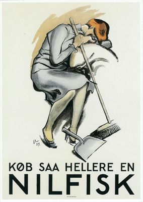 "Danish ad (1929). Translation: ""Buy a Nilfisk instead"" - Nilfisk is a Danish brand of vacuum cleaners."