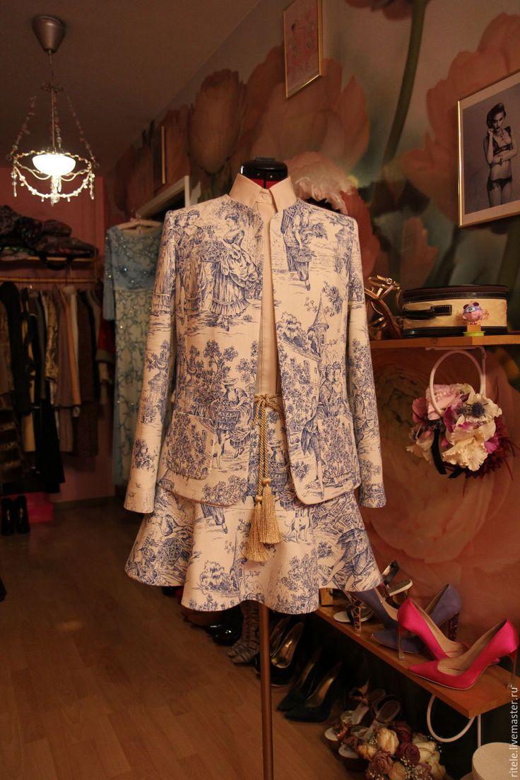 """Жакет и юбка """"Flax Chanel"""" - комбинированный, костюм, костюм женский, комплект, вечерний наряд"""
