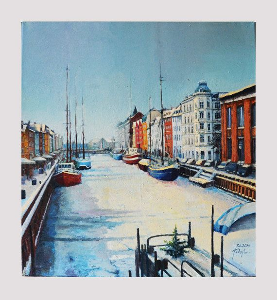 View of Nyhavn canal in Copenhagen impressionist oil by JRajtar