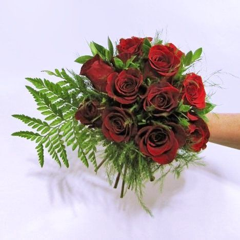 Hand Tied Wedding Bouquet Comprised Of: Red Roses, Green ...