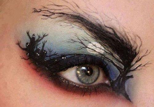 How cool is this for a classy Halloween make-up look you can wear to work or if you don't want to go all out for a costume! And it's pretty cool inspiration for just a fun look!