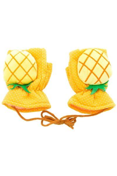 Pineapple Print Fingerless Yellow Mittens