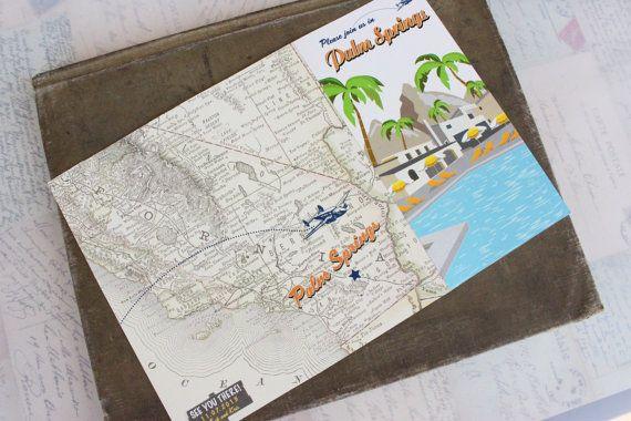 Travel Brochure Wedding Invitation Palm Springs CA  Design by beyonddesign | Etsy