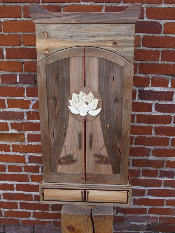 Black walnut and aged pine with lotus blossom