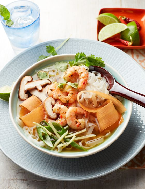 Miso soup bowl with prawns - It's true – this is a no-cook soup! You just need a kettle of boiling water to soak the noodles and make up the miso soup. Chilli and coriander prawns add an extra layer of flavour, but unflavoured ones work well too.