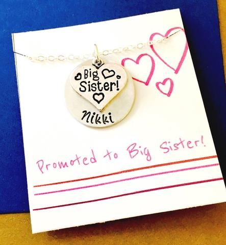 Big Sister Necklace, Big Sister Gift, Personalized Big Sister Necklace, New Sibling, Promoted to Big Sister