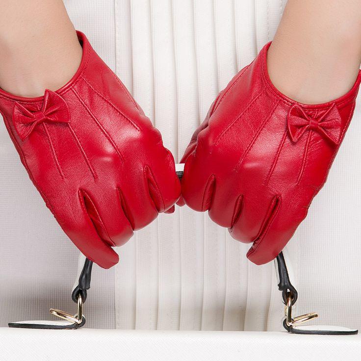 Gours Зимние Оригинальные Кожаные Перчатки Женщин Короткий Красный Черный Зеленый Дамы Перчатки Новый Бренд Бантом Козьей Варежки Guantes GSL047 купить на AliExpress
