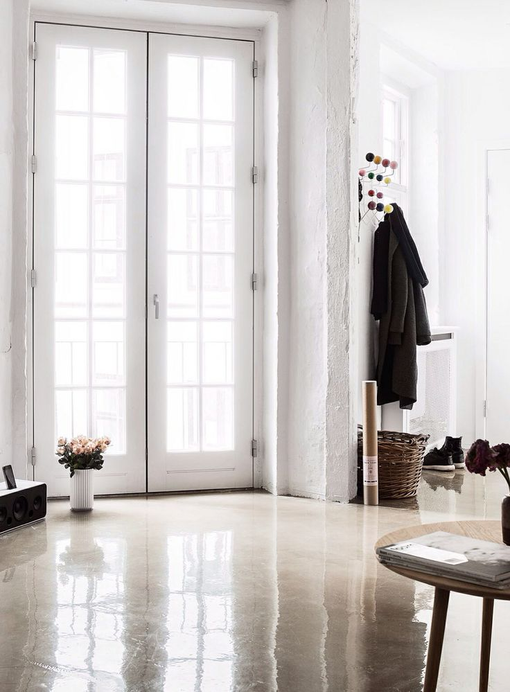 Scandinavian apartment polished concrete floor