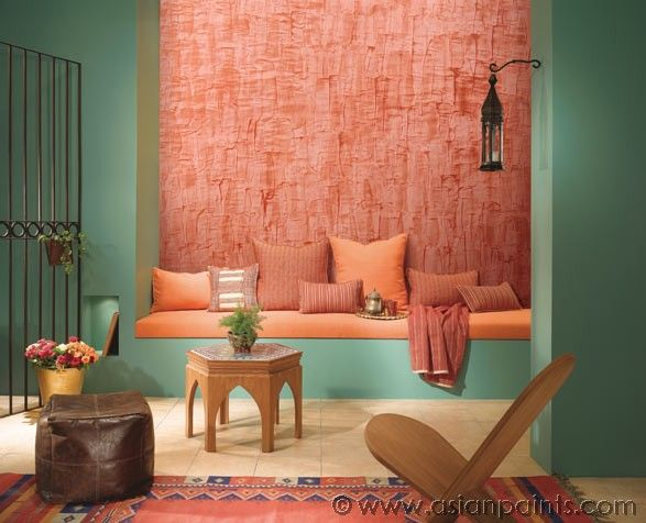 7 best living room ideas with innovative wall colours for Asian paints interior texture designs