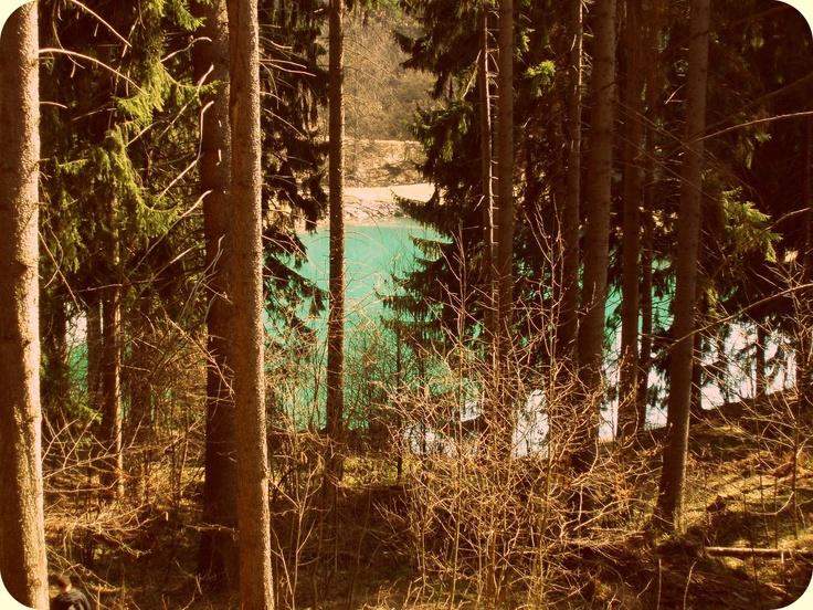Banska Stiavnica ,Slovakia, forest and lake - pond  Vodarenska .)