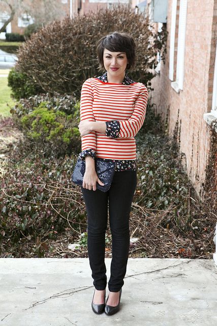 Again, with the mixing patterns: stripes + floral = <3