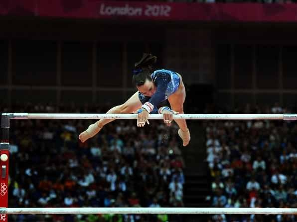 Great Britain's Beth Tweddle competes in the Women's Uneven Bars Final, at North Greenwich Arena, London during day ten of the London 2012 Olympics. Picture Anthony Devlin/PA Wire.