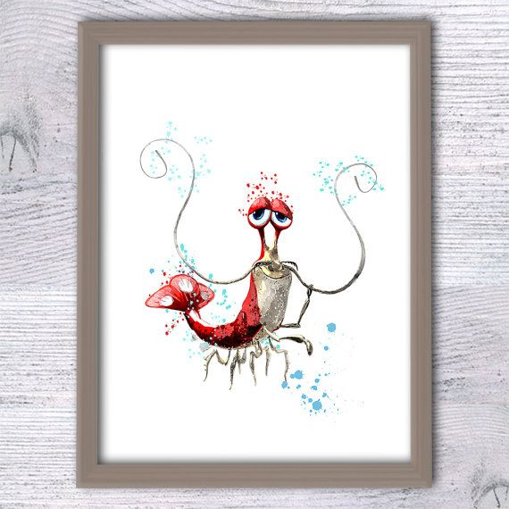 Finding Nemo poster Jacques Shrimp print Disney by ColorfulPoster
