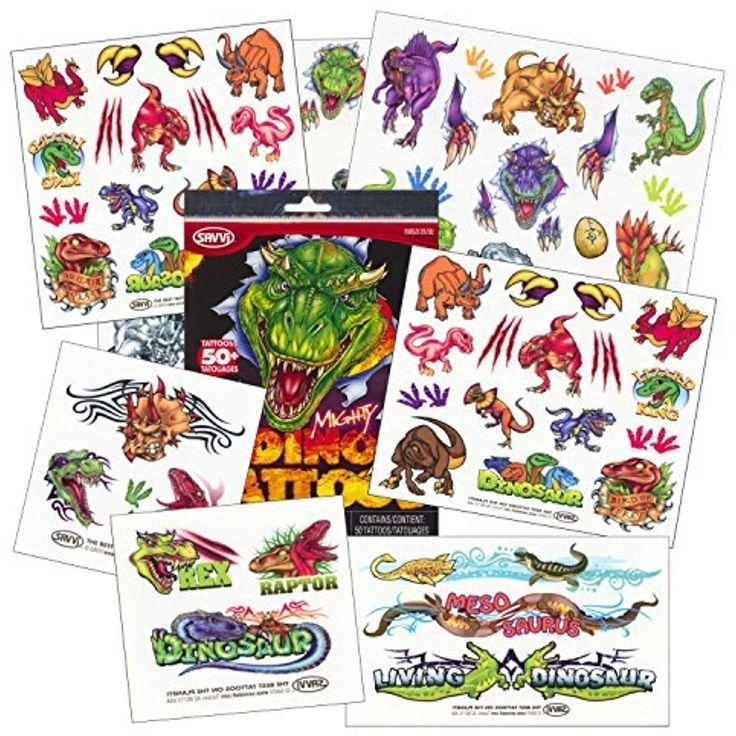 Dinosaur temporary tattoos party favor set over 50