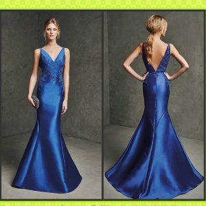 Blue Satin Bridesmaid Formal Gown Cheap Evening Dress M2016