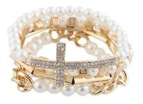 Ladies Ivory with Gold 4 Piece Bundle of Iced Out Cross, Link, & Bar Chain Beaded Stretch Bracelet